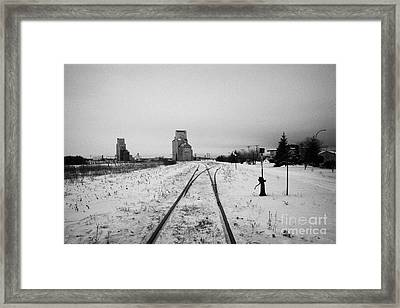 Cn Canadian National Railway Tracks And Grain Silos Kamsack Saskatchewan Canada Framed Print by Joe Fox