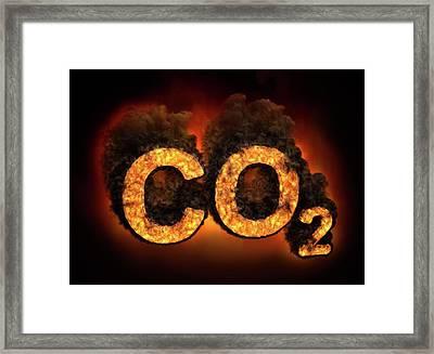 Co2 Symbol Burning Framed Print by Andrzej Wojcicki