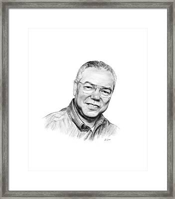 Colin Powell Framed Print by Lou Ortiz