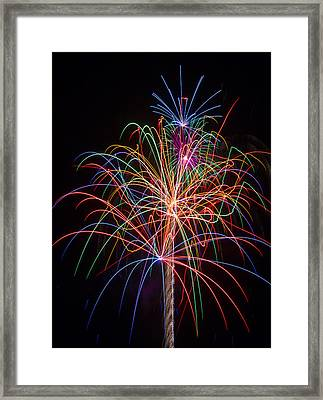 Colorful Fireworks Framed Print by Garry Gay