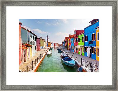 Colorful Houses And Canal On Burano Island Near Venice Italy Framed Print by Michal Bednarek