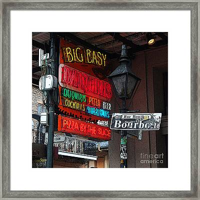 Colorful Neon Sign On Bourbon Street Corner French Quarter New Orleans Poster Edges Digital Art Framed Print by Shawn O'Brien
