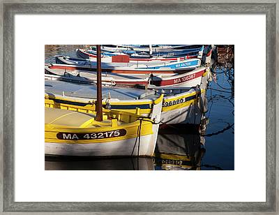 Colorful Sailboats In The Small Harbor Framed Print by Brian Jannsen