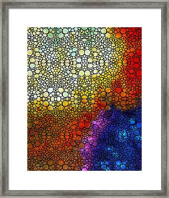 Colorful Stone Rock'd Abstract Art By Sharon Cummings Framed Print by Sharon Cummings