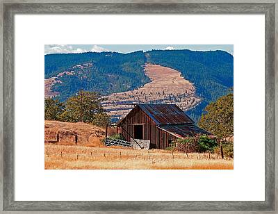 Columbia River Barn Framed Print by Peter Tellone