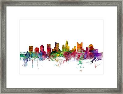 Columbus Ohio Skyline Framed Print by Michael Tompsett