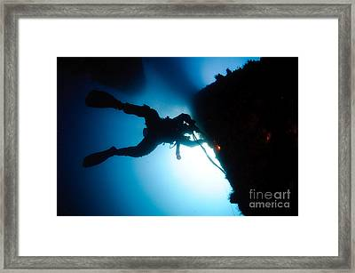 Commercial Diver At Work Framed Print by Hagai Nativ