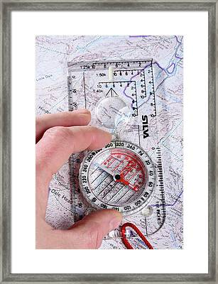 Compass And Map Framed Print by Cordelia Molloy
