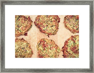 Courgette Fritters Framed Print by Tom Gowanlock