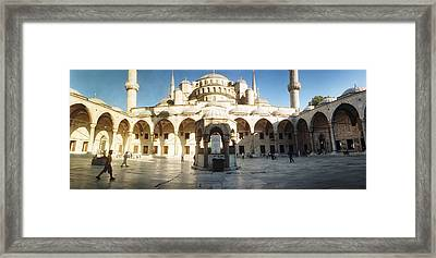 Courtyard Of Blue Mosque In Istanbul Framed Print by Panoramic Images