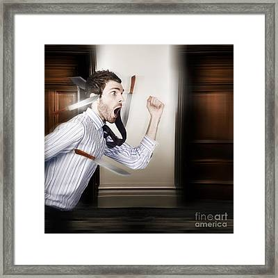 Crazy Businessman Running In Fear From Danger Framed Print by Jorgo Photography - Wall Art Gallery