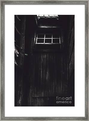 Creepy Open Horror Window In The Dark Shadows Framed Print by Jorgo Photography - Wall Art Gallery