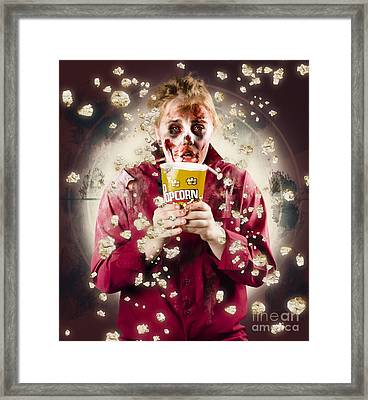 Creepy Possessed Girl Watching Horror Movie Framed Print by Jorgo Photography - Wall Art Gallery