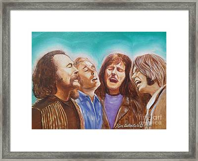Crosby Stills Nash And Young Framed Print by Kean Butterfield