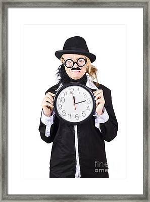 Crying Woman In Disguise Holding Clock Framed Print by Jorgo Photography - Wall Art Gallery