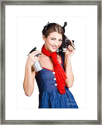 Cute Girl Model Styling A Hairdo. Pinup Your Hair Framed Print by Jorgo Photography - Wall Art Gallery