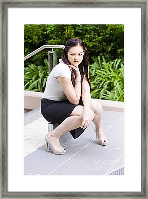 Cute Lady Making An Executive Business Decision Framed Print by Jorgo Photography - Wall Art Gallery