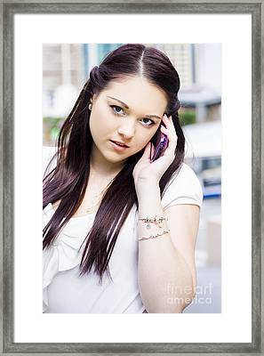 Cute Sales Woman Discussing Business Deal On Phone Framed Print by Jorgo Photography - Wall Art Gallery