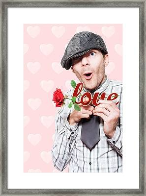 Cute Surprised School Boy Experiencing First Love Framed Print by Jorgo Photography - Wall Art Gallery
