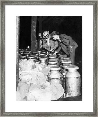 Dairy Product Inspection Framed Print by Underwood Archives