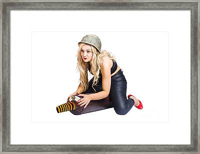 Danger Pin Up Girl Riding On Nuclear Bomb Framed Print by Jorgo Photography - Wall Art Gallery