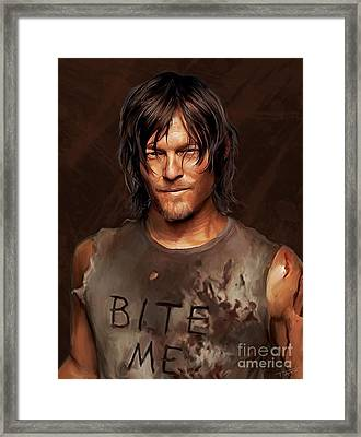 Daryl - Bite Me Framed Print by Paul Tagliamonte