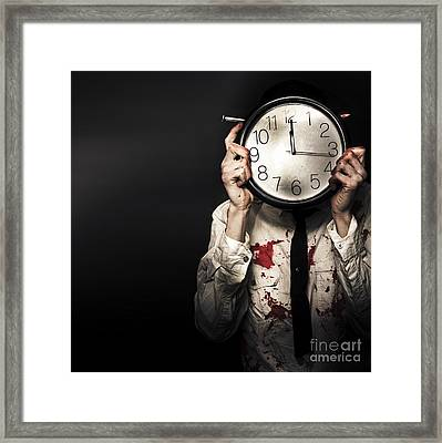 Dead Business Person Holding End Of Time Clock Framed Print by Jorgo Photography - Wall Art Gallery