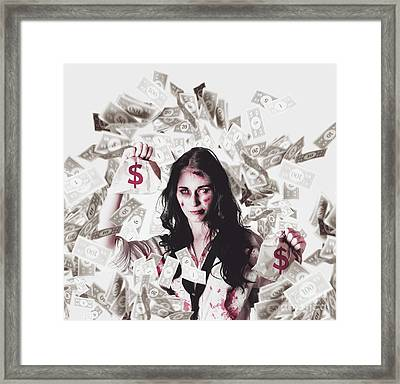 Dead Business Woman In Financial Crisis Debt Framed Print by Jorgo Photography - Wall Art Gallery