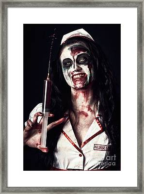 Dead Nurse Taking Blood Donation With Syringe Framed Print by Jorgo Photography - Wall Art Gallery
