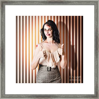 Dead Set Business Woman Ready With Thumbs Up Framed Print by Jorgo Photography - Wall Art Gallery