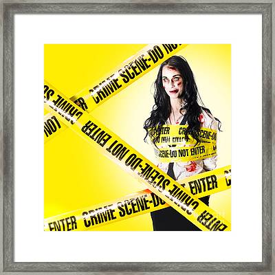 Dead Zombie Wrapped In Tape At Crime Scene Framed Print by Jorgo Photography - Wall Art Gallery