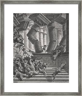 Death Of Samson Framed Print by Gustave Dore