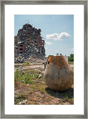 Demolition Of Detroit Housing Towers Framed Print by Jim West
