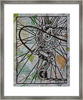 Derailluer On Map Framed Print by William Cauthern