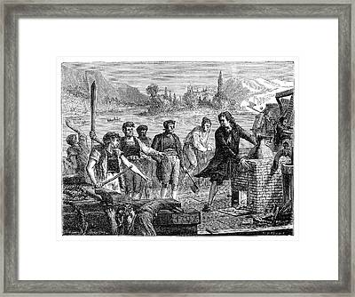 Destruction Of Papin's Steamboat Framed Print by Science Photo Library