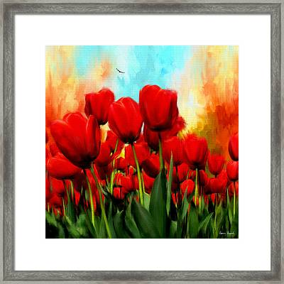 Devotion To One's Love- Red Tulips Painting Framed Print by Lourry Legarde