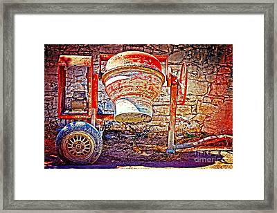 Digital Painting Of An Old Rusty Cement Mixer Framed Print by Ken Biggs