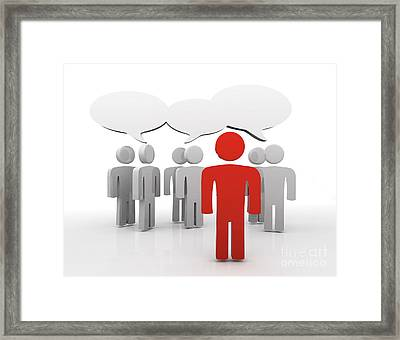 Discussion Blank Speech Bubbles Framed Print by Michal Bednarek