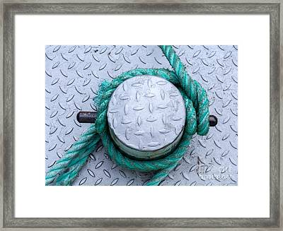 Dock Bollard With Green Boat Rope Framed Print by Iris Richardson