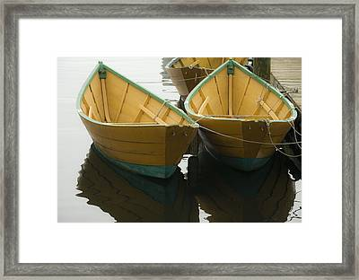 Dories At The Dock Framed Print by David Stone