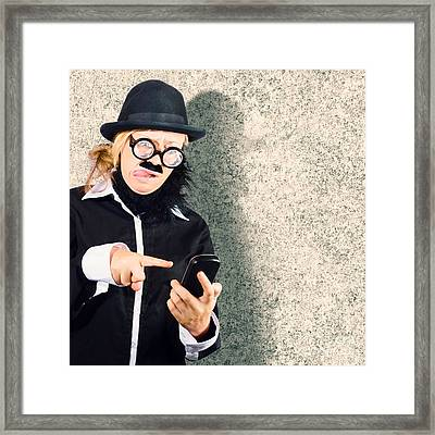 Dorky Businessman Texting On Mobile Smart Phone Framed Print by Jorgo Photography - Wall Art Gallery