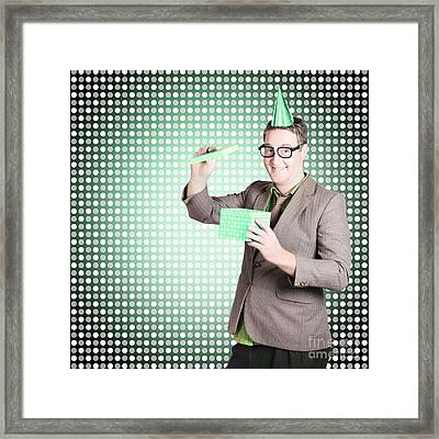 Dorky Dad Opening Father Day Present Framed Print by Jorgo Photography - Wall Art Gallery