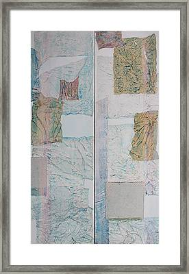 Double Doors Of Unfinished Projects In Blue  Framed Print by Asha Carolyn Young