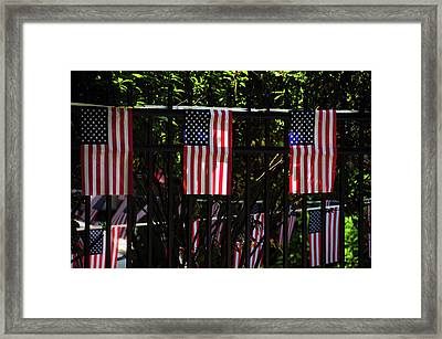 Draped Flags, July 4th, Parade Framed Print by Michel Hersen