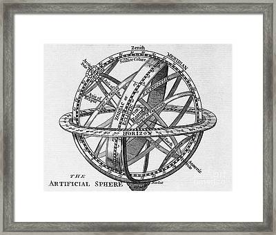 Drawing Of An Armillary Sphere Framed Print by Middle Temple Library