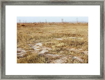 Dried Up Lake Bed From Drought Framed Print by Ashley Cooper