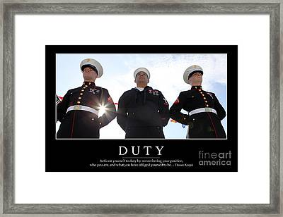 Duty Inspirational Quote Framed Print by Stocktrek Images