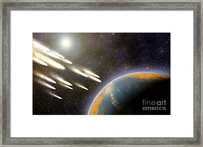 Earths Cometary Bombardment, Artwork Framed Print by Equinox Graphics