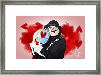 Eccentric Man Showing World Love By Cuddling Globe Framed Print by Jorgo Photography - Wall Art Gallery