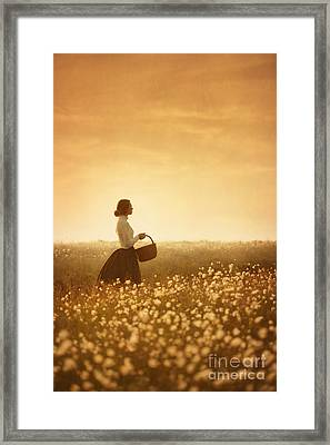 Edwardian Woman In A Meadow At Sunset Framed Print by Lee Avison